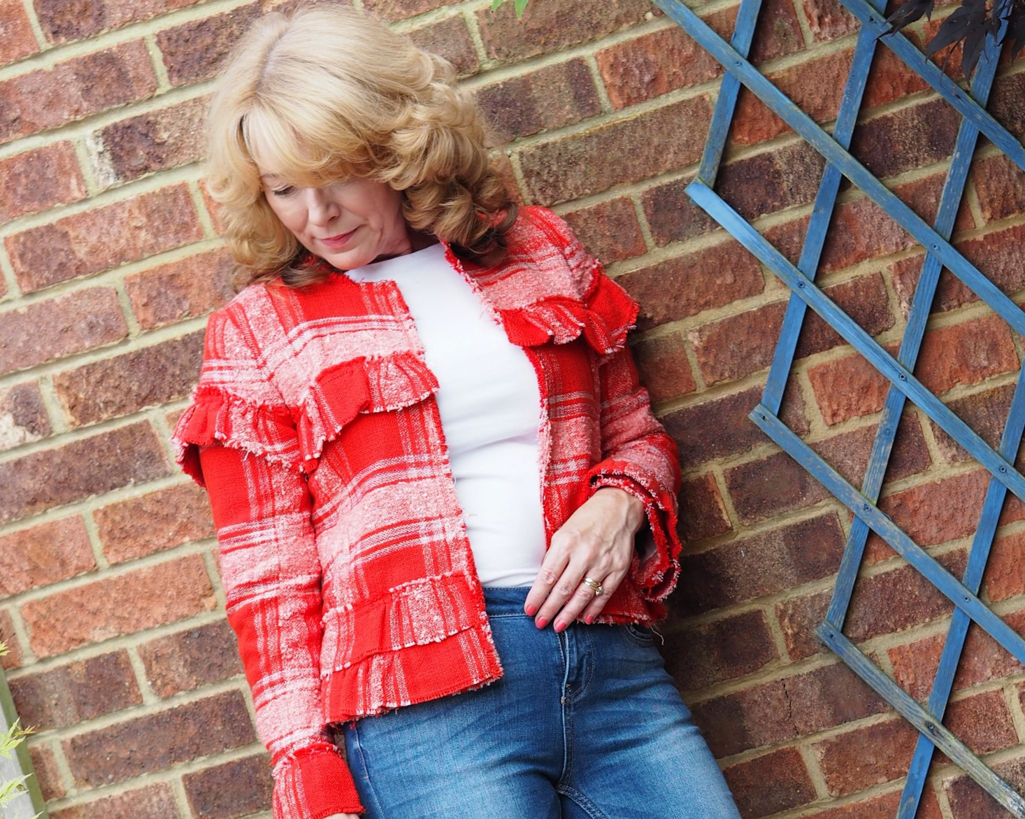 red frayed hem jacket