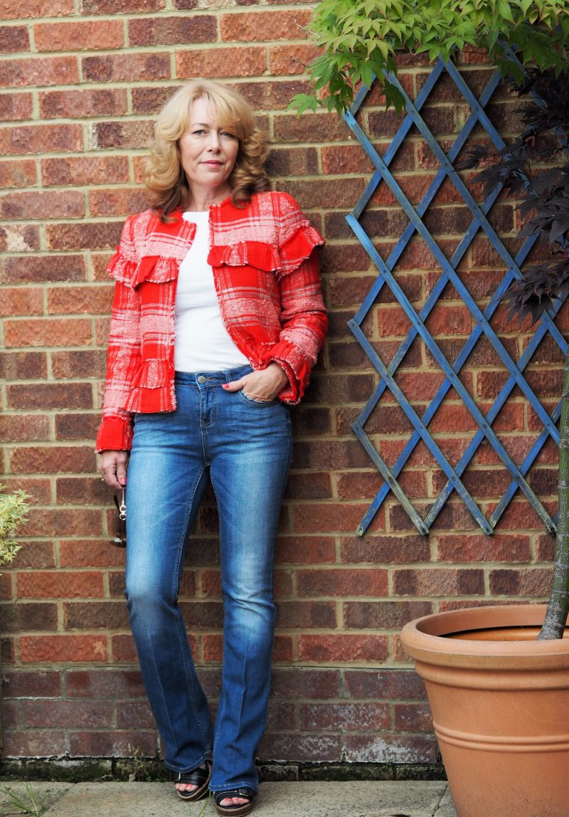 red frayed hem jacket from zara