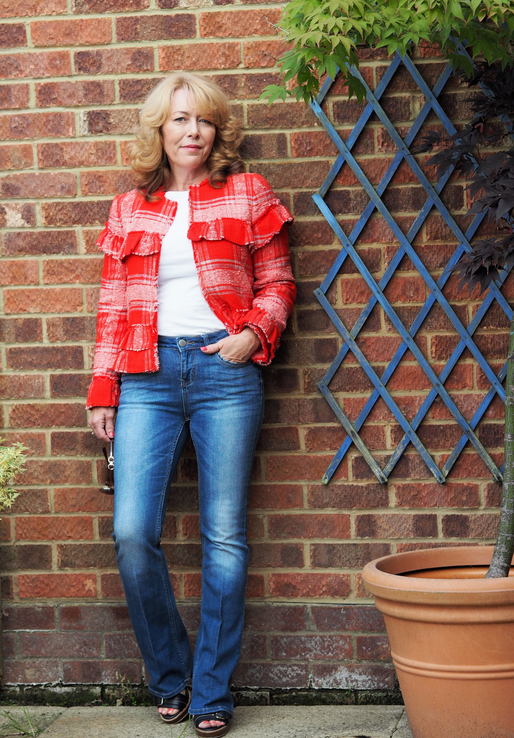 red frayed hem jacket from zara