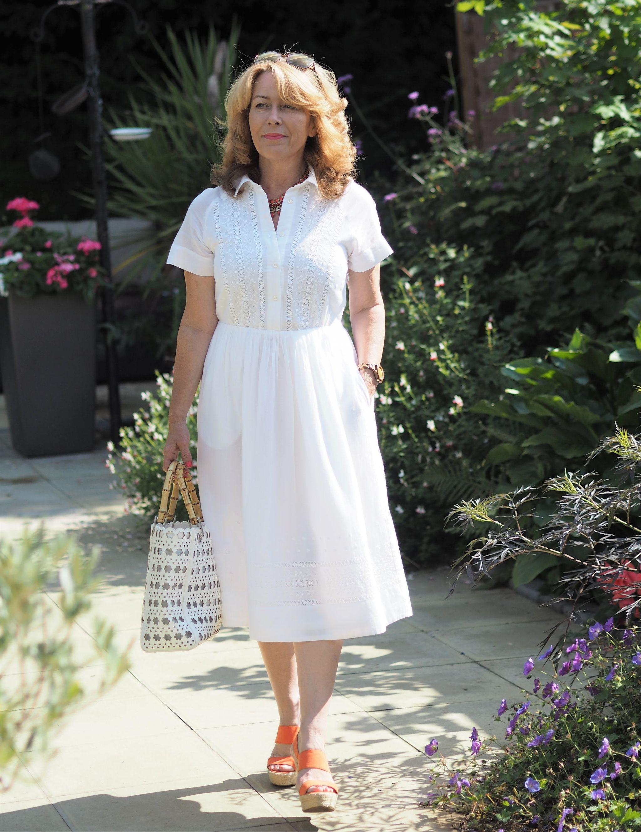 white broderie anglais dress
