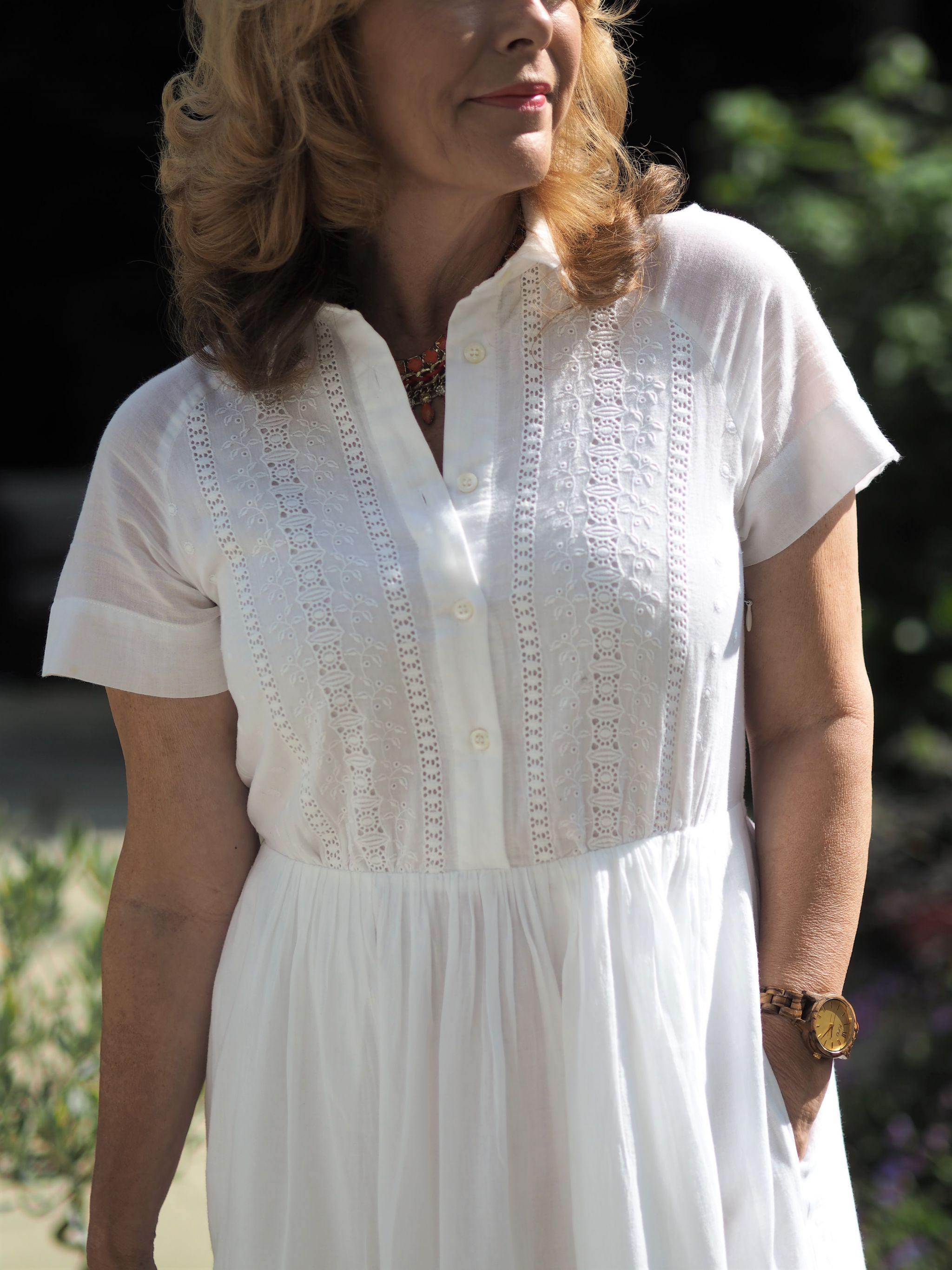 white broderie anglais dress