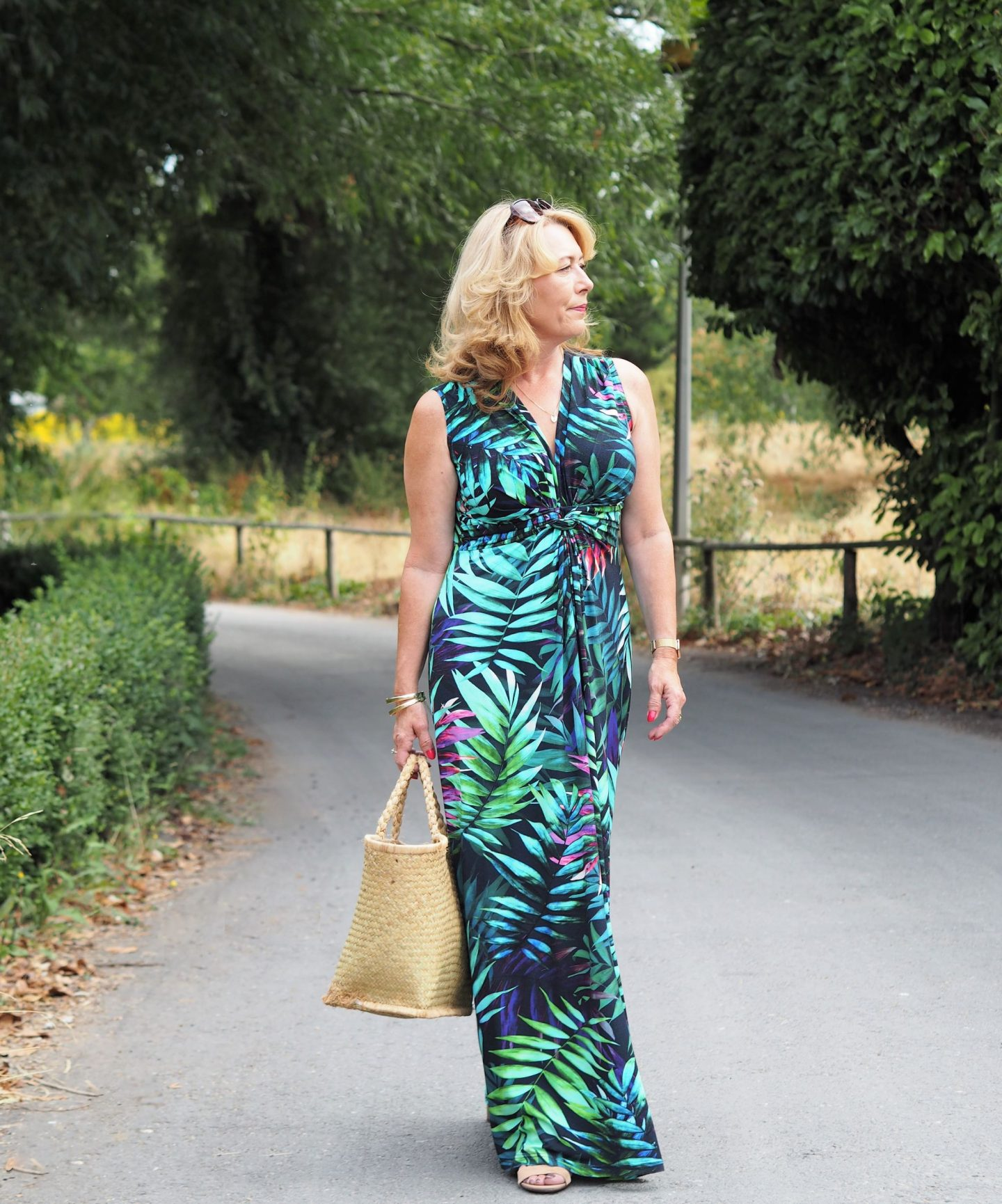 I chose to wear this gorgeous tropical print maxi dress. Simples! A one-piece floaty number. You may remember how over the moon I was with my maxi from Roman Originals last year